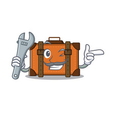 Suitcase with in cartoon mechanic shape vector