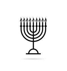 thin line hanukkah candles black icon vector image