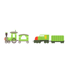 Toy colorful train or locomotive as rail transport vector