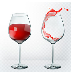 transparency wine glass empty and full 3d vector image