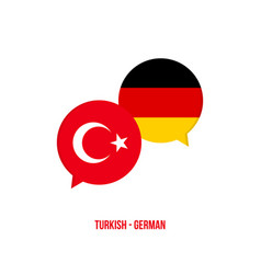 Turkish to german translation speech bubbles vector