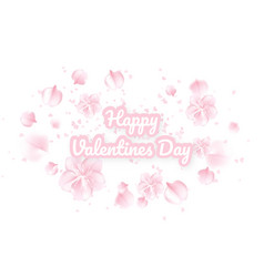 valentines day background with pink sakura falling vector image
