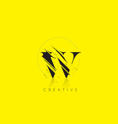 W letter logo with vintage grundge drawing design vector