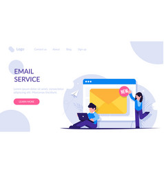 web email service people near open browser vector image