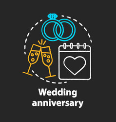 wedding anniversary chalk concept icon marriage vector image