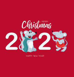 white rats symbol 2020 chinese new year vector image