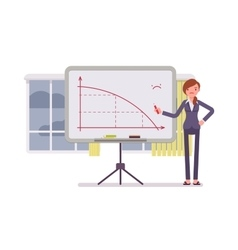 Woman drew a negative graph on the whiteboard vector