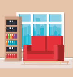 workplace library scene icons vector image