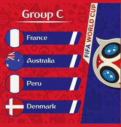World cup 2018 group c team image vector