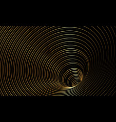 wormhole optical illusion gold geometric banner vector image