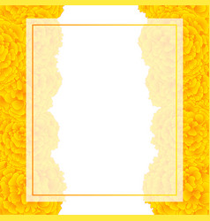 Yellow marigold banner card border vector