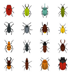 bugs set flat icons vector image vector image