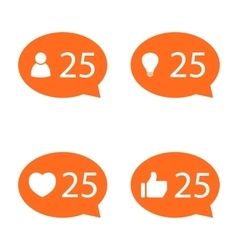 Like Counter Notification Icon set vector image vector image