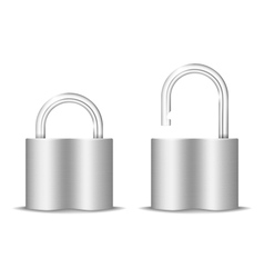 Padlock Icon Open And Closed Isolated On White vector image vector image