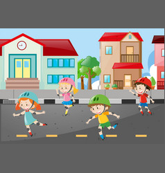 scene with four kids skating on the road vector image