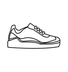 sneaker sport footwear training line vector image