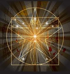 Vitruvian man in pentagram vector