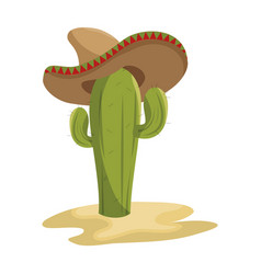 animated sketch cactus with mexican hat in desert vector image