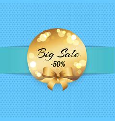 big sale half price with golden label logo vector image