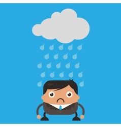 Cloud Raining on Business Man vector image