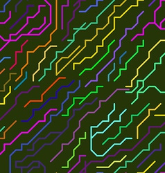 Colorful Micro Chip Lines Seamless Pattern vector image