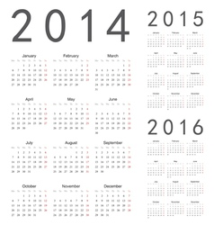 European 2014 2015 2016 year calendars vector image vector image
