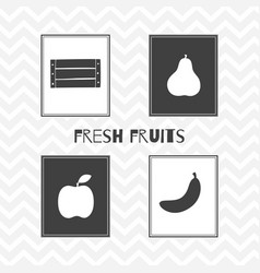 hand drawn silhouettes fruit posters vector image vector image