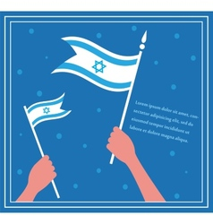 Happy Israeli independence day hand holding a flag vector image vector image