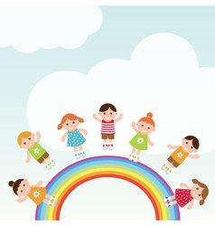 Kids jumping on the rainbow vector image