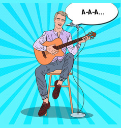 man playing on guitar and singing song pop art vector image vector image