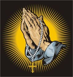 Praying hands with rosary and shining vector image vector image