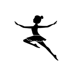 silhouette with dancer jump second arabesque vector image vector image