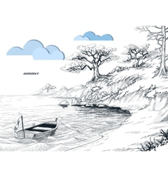 Summer seascape sketch olive trees on shore small vector