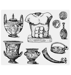 ancient greece antique symbols greek coins vector image