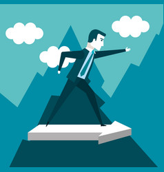 business man climbing on mountain with arrow going vector image vector image