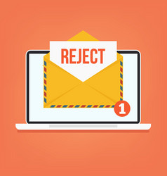 open envelop with reject red word email vector image