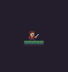 pixel art swordsman vector image vector image