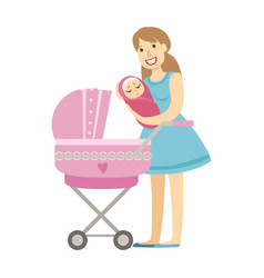 young mom putting baby in the stroller vector image