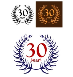 30 Years Anniversary laurel wreath vector image