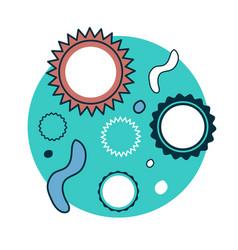 cartoon bacteria and viruses under microscope vector image