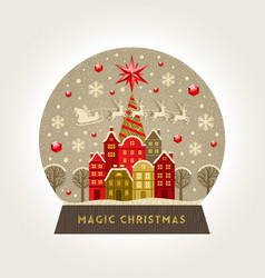 decorative flat snow globe christmas vector image vector image