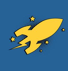 spaceship space rocket cartoon bubble vector image vector image