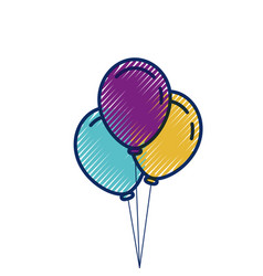three balloons inflatable party decoration vector image