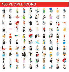 100 people icons set isometric 3d style vector