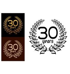 30 Years anniversary wreaths vector