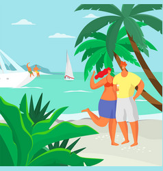 a man and a woman are standing on beach near vector image