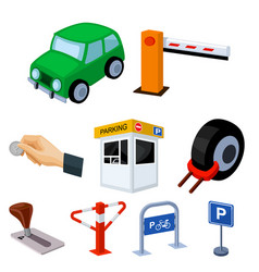 a set of icons for parking cars and bicycles vector image