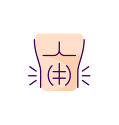 Abdominal muscle strain rgb color icon vector
