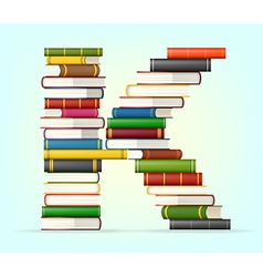 Alphabet from stacks multi colored books vector