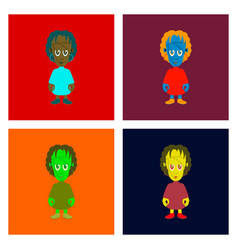 Assembly flat zombie woman vector